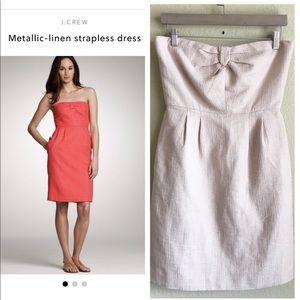 J. CREW Metallic Linen Strapless Dress